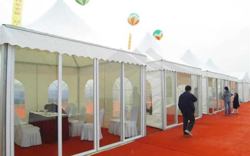 Outdoor Pagoda Trade Show Tent With Glass Wall of Exhibition