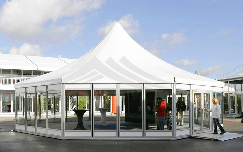 Outdoor Marquee Hexagonal Tent With Glass Wall For Exhibition