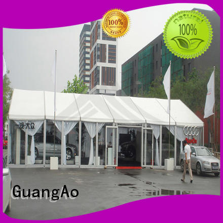 GuangAo big capacity marquee tents prices curve shape for exhibition
